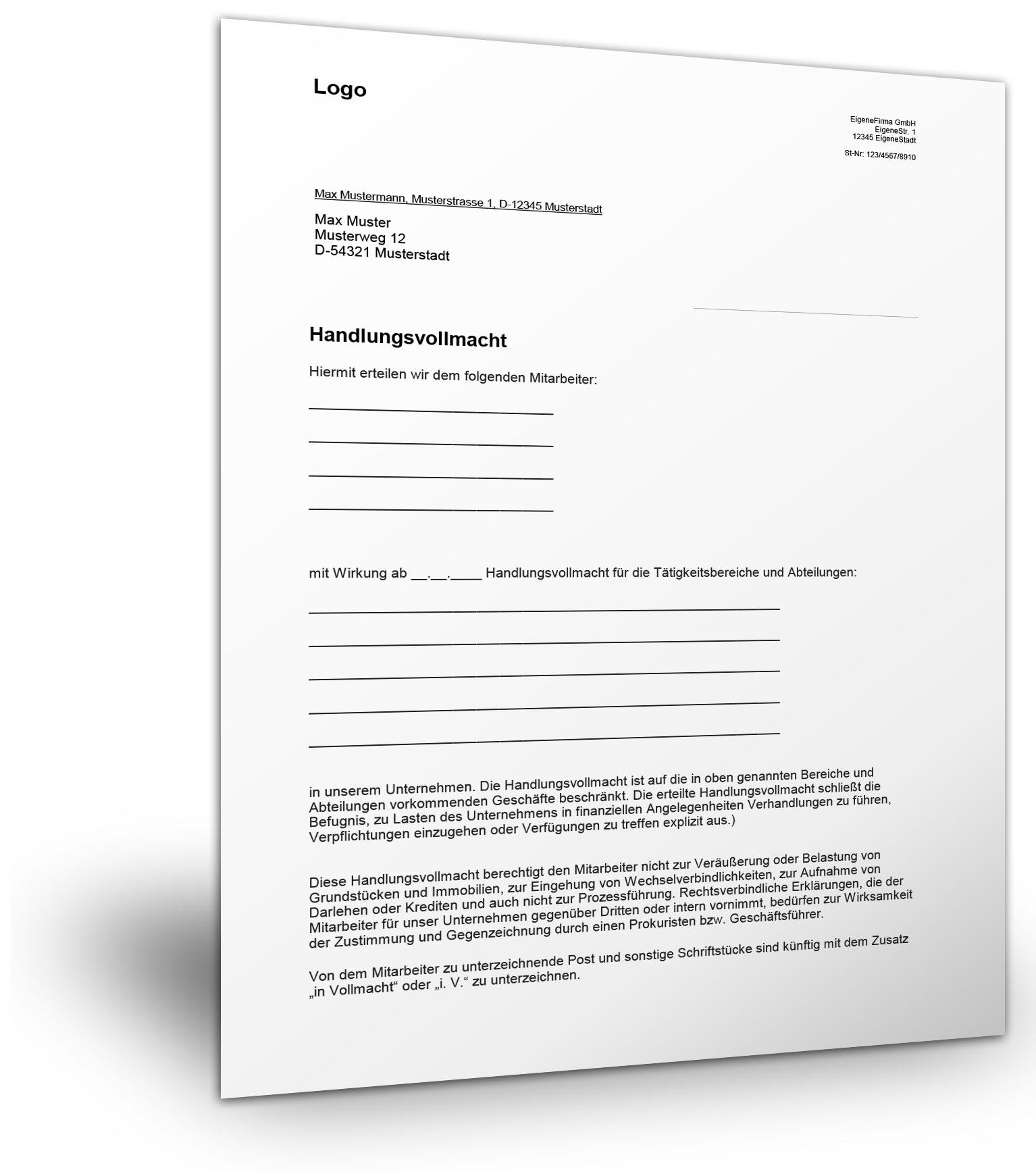 handlungsvollmacht mustervorlage - Vollmacht Schreiben Muster